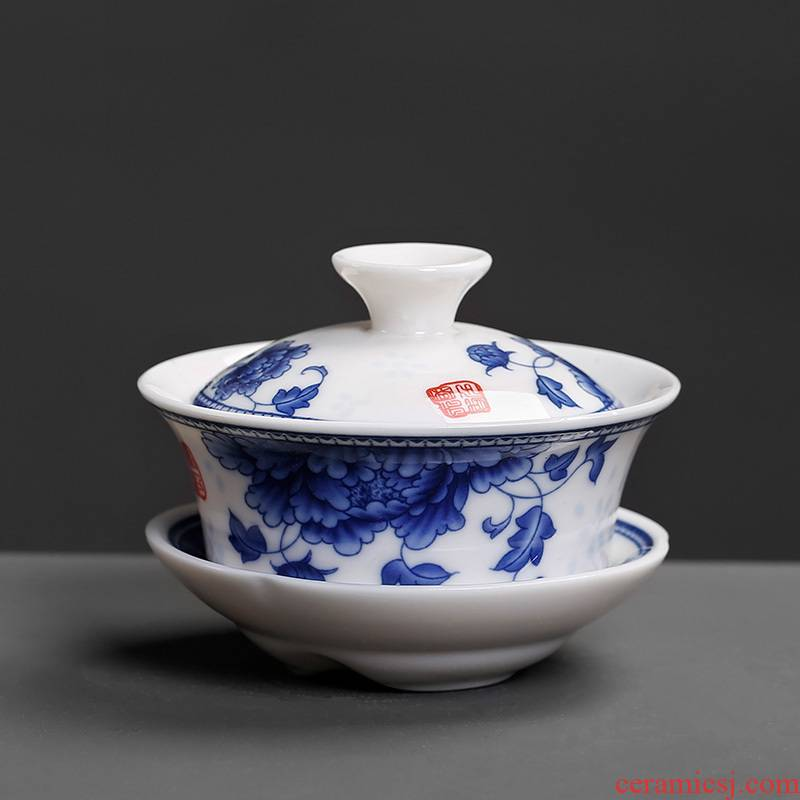 The Home of kung fu tea set ceramic hand - made tureen tea cup bowl bowl three cup small thin white porcelain applique tyre