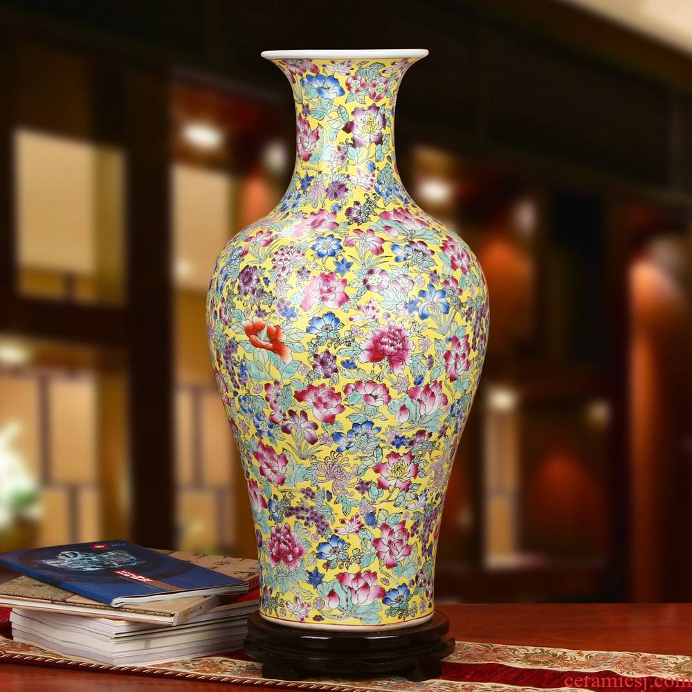 End of jingdezhen ceramics high - End antique boutique pastel yellow flower peony hand - made furniture of large vase