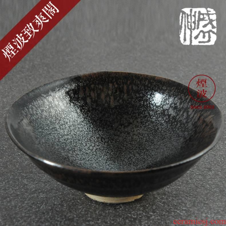 Those Japanese pottery kimura sheng and partridge spot temmoku built light tea cups