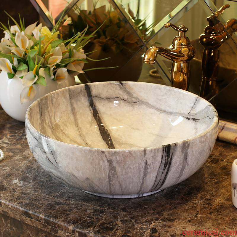 Jingdezhen ceramic stage basin art round the pool that wash a face European toilet lavabo, imitation marble pattern