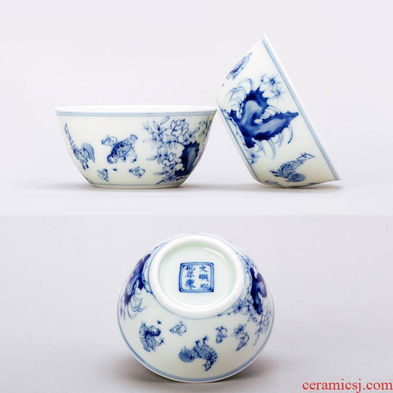 Cup of chicken in lyrics cylinder jingdezhen hand - made manual archaize ceramic tea cups