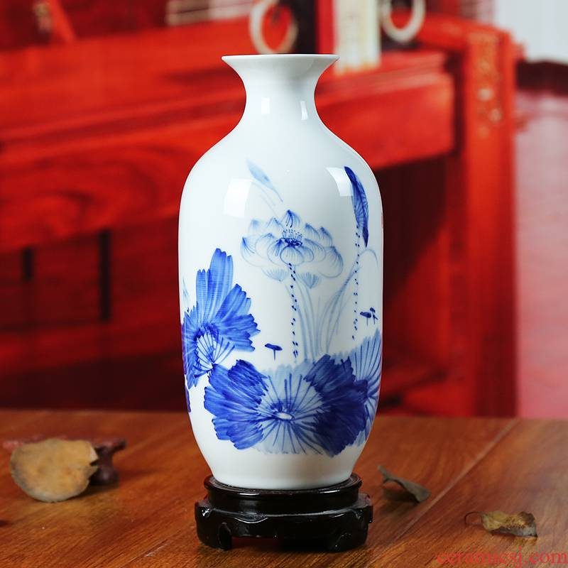 Jingdezhen ceramic vase modern blue and white porcelain painting lotus home sitting room place flower crafts gifts