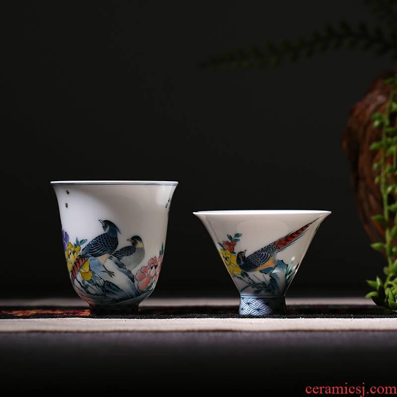 Hand - made pastel sample tea cup jingdezhen ceramic cups beautiful celadon red kung fu tea set handless small cups