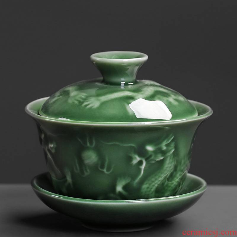 Celadon tureen kung fu tea set ceramic teapot to make tea bowl large bowl three tureen anaglyph dragons