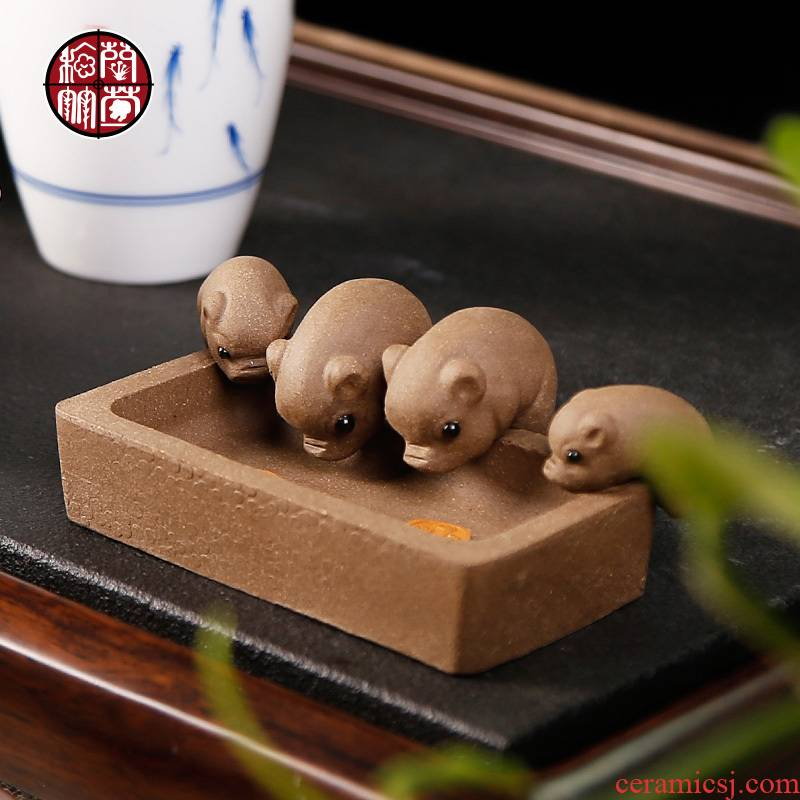 Small tea pet mini household creative lovely violet arenaceous pig kung fu tea tea set zero spoil water office furnishing articles
