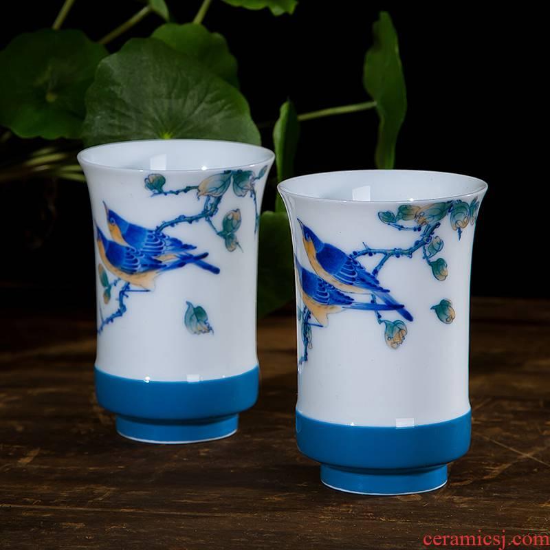 Jingdezhen ceramic cups kung fu manual sample tea cup tea business gifts cup of flower tea cup
