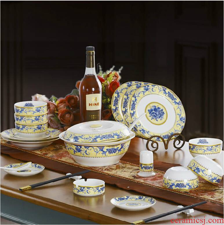 Red xin 46 head of jingdezhen ceramic tableware suit dishes suit to use chopsticks dishes ceramic European - style home plate