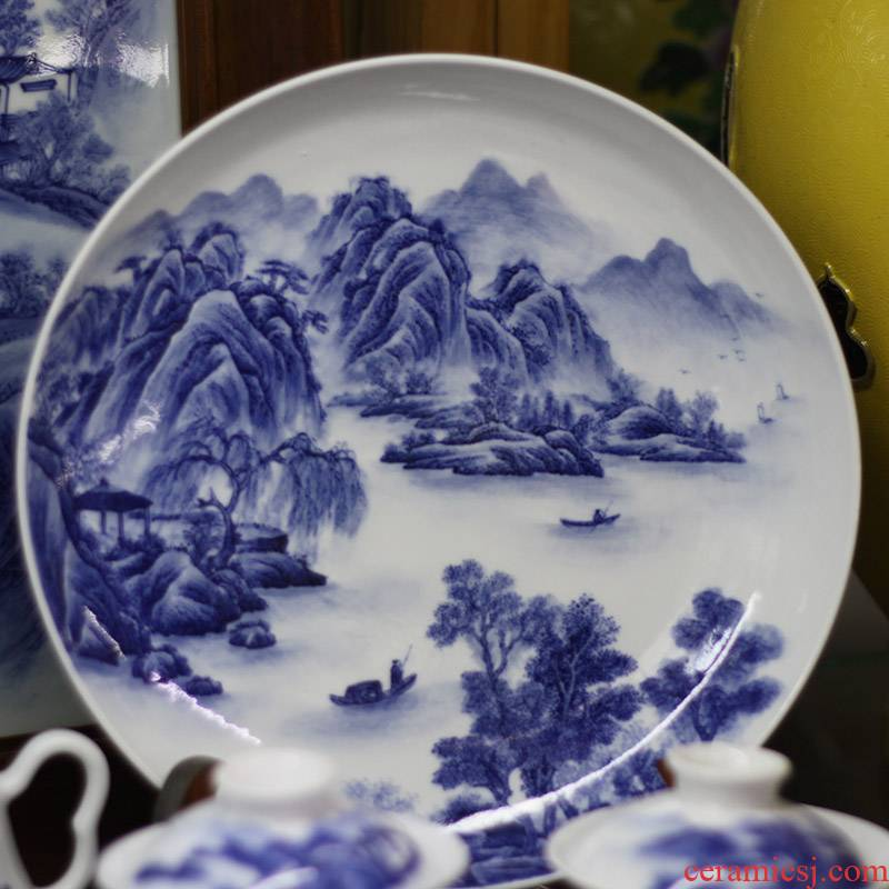 Jingdezhen pure hand - made scenery China plate 20-30 youligong hand - made ceramic plate landscape blue - and - white decoration plate