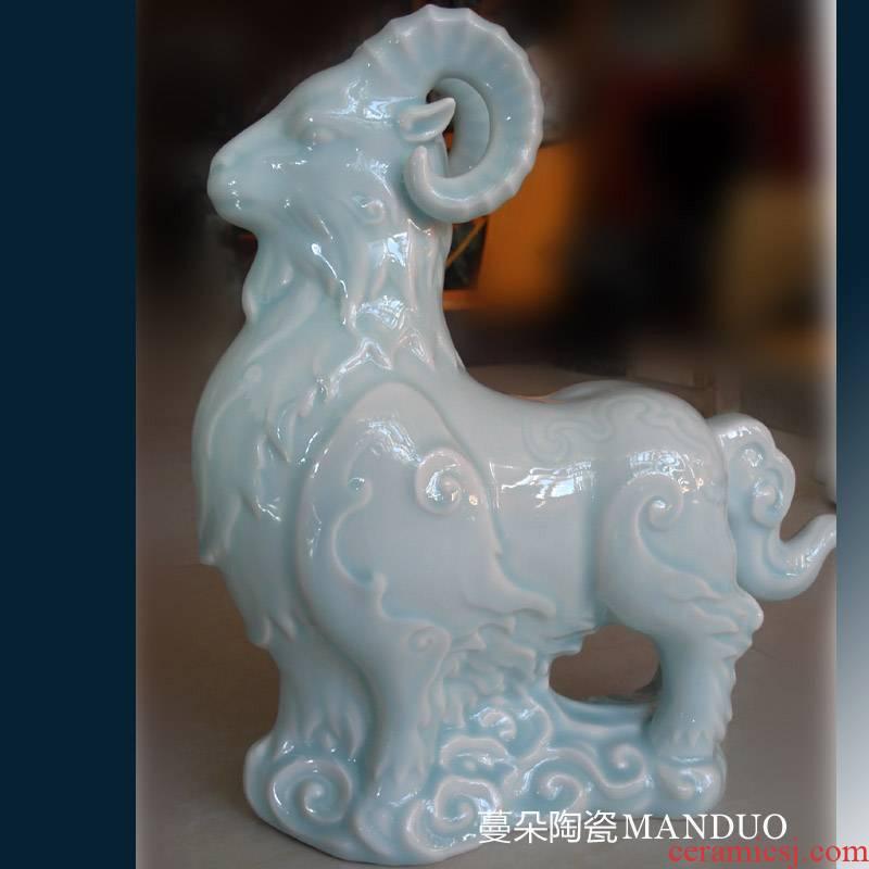 Jingdezhen shadow green China sheep and high - grade high - grade porcelain gifts the sheep sheep sheep decorative furnishing articles