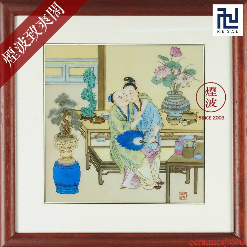 Jingdezhen nine calcinations experienced painters hand - made of ceramic 35 * 37.5 version of jin ping mei porcelain plate painting
