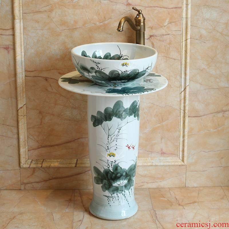 Jingdezhen ceramic column balcony fall type toilet bowl lavatory pillar lavabo art basin of the post