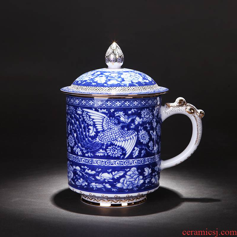 Jingdezhen blue and white painting landscape under the glaze hand - made office cup cup and cup ceramic masters cup