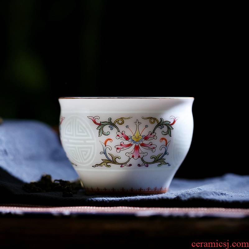 Red xin kung fu tea cup sample tea cup of jingdezhen ceramic tea set celadon pastel noggin pu - erh tea cup