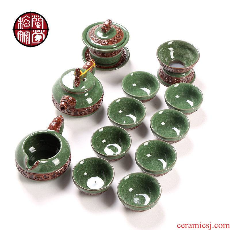 Kung fu tea ice crack tureen tea ware ceramic cups combination creative Chinese style home office of a complete set of suits for