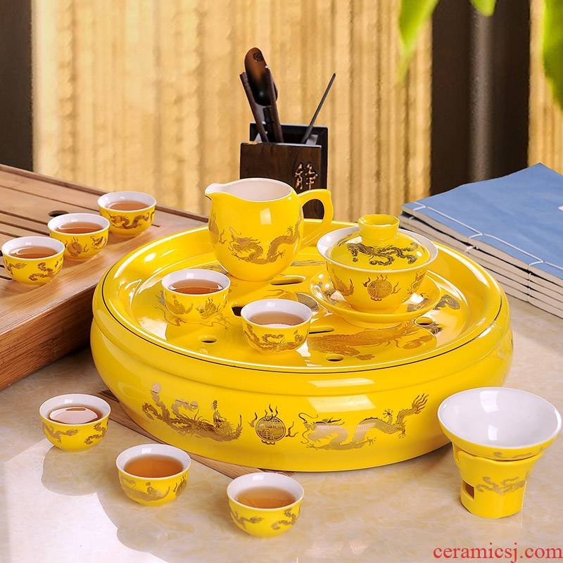 Jingdezhen kung fu tea set suit household longfeng ceramic cup teapot tea tray of a complete set of tea set red and yellow