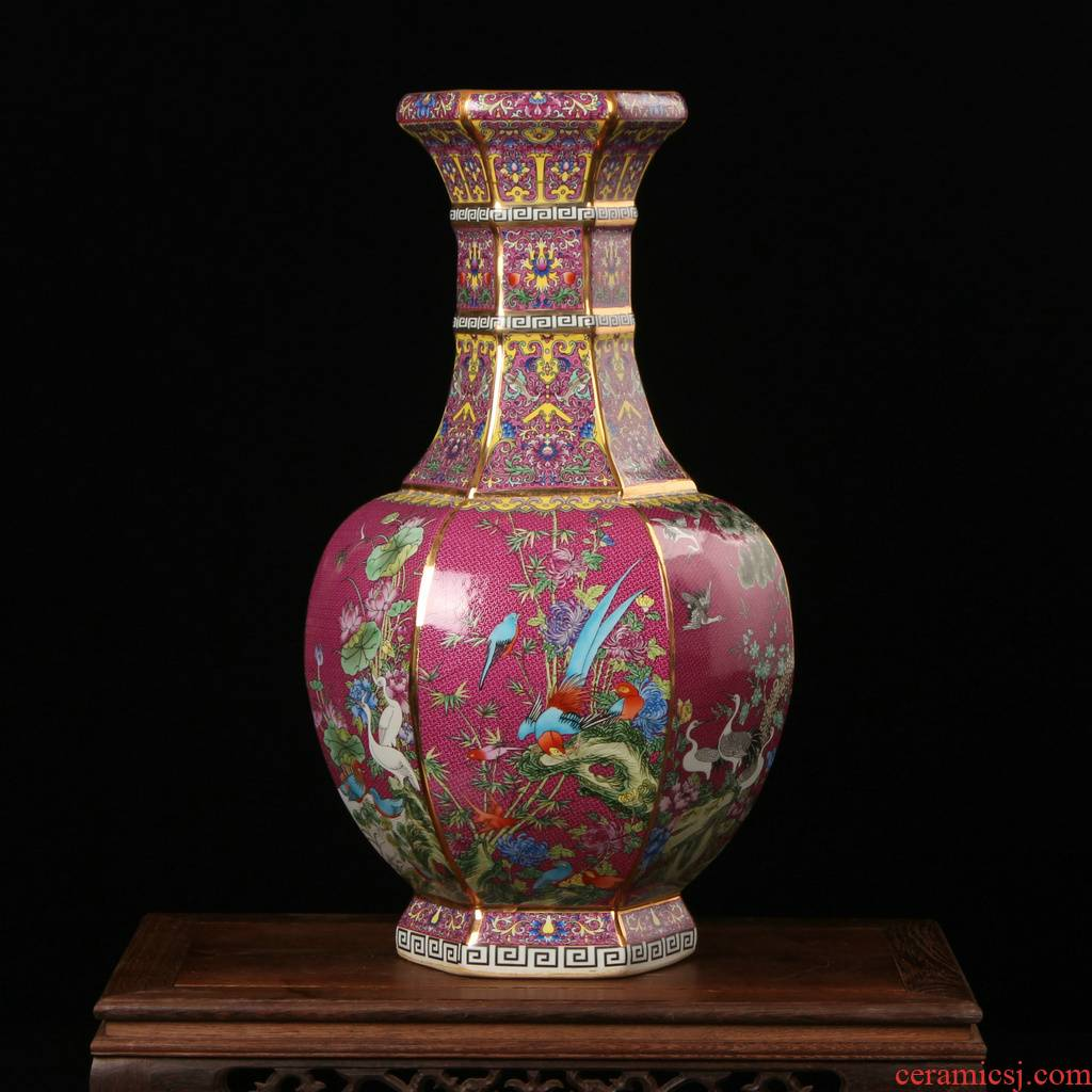 Jingdezhen ceramics archaize principal colored enamel painting of flowers and six sides vases, modern household crafts collection
