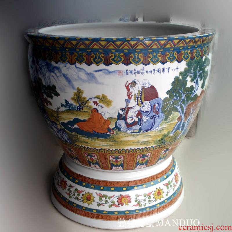 Jingdezhen hand - made of 18 arhats colorful porcelain VAT colorful porcelain glaze porcelain under the big cylinder diameter of 90 feet