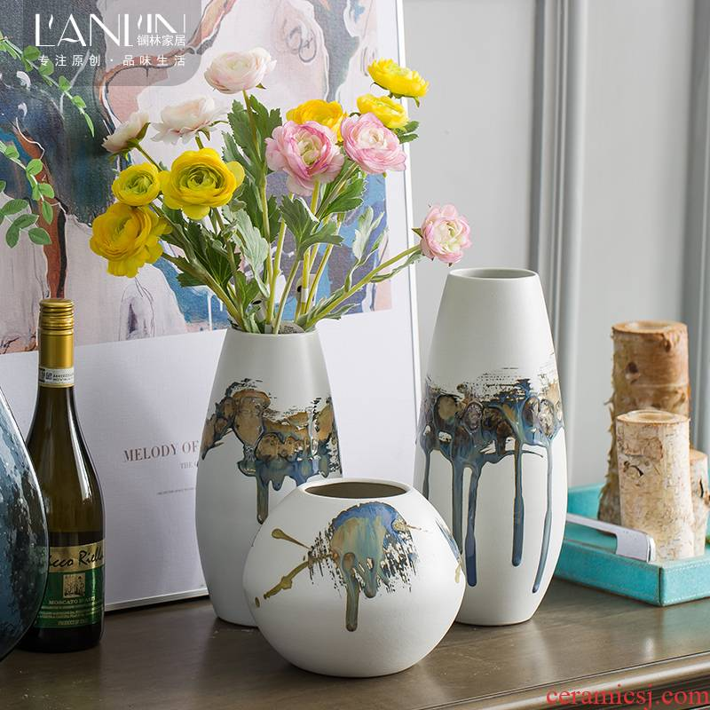 Vase furnishing articles sitting room flower arranging I and contracted creative small pure and fresh and dried flowers, household decorative ceramic floor floret