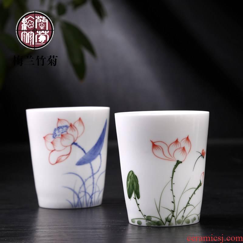 Thin foetus hand - made ceramic kung fu tea set big personal cup single CPU mercifully handless small tea cup of black tea drinking tea cups