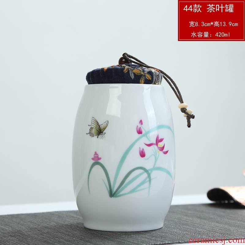 White porcelain ceramic portable violet arenaceous caddy fixings household size coarse pottery seal storage tanks pu 'er tea boxes