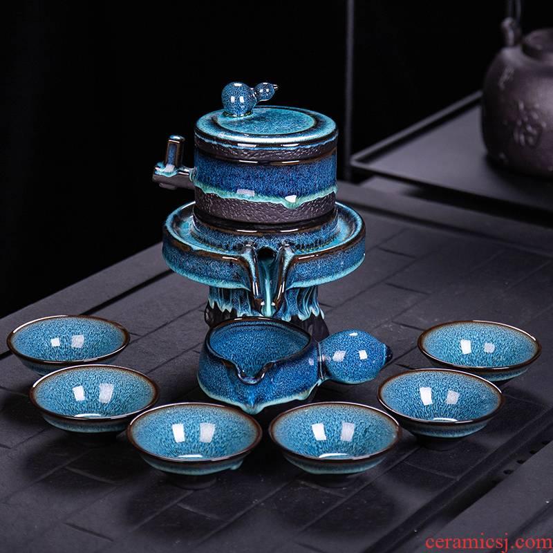 Jasmine tea sets, home stone mill creative ceramic teapot kung fu tea cup half full automatic lazy people