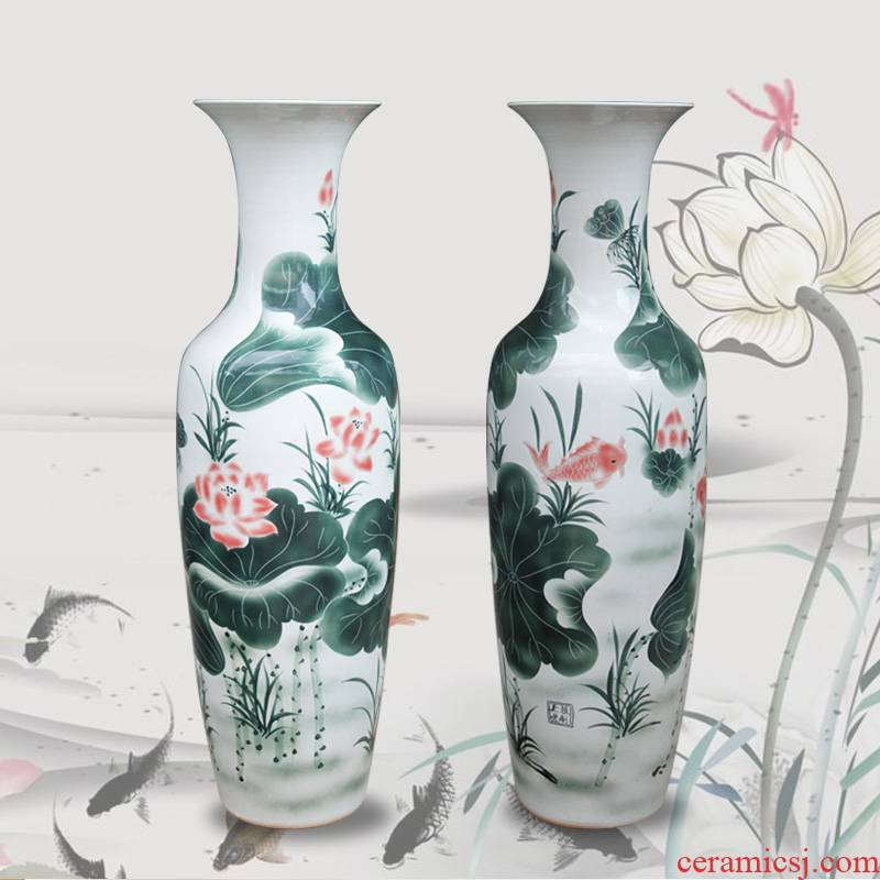 Jingdezhen ceramics Chinese rural style lotus fish living room decoration to the hotel lobby for the opening of large vase