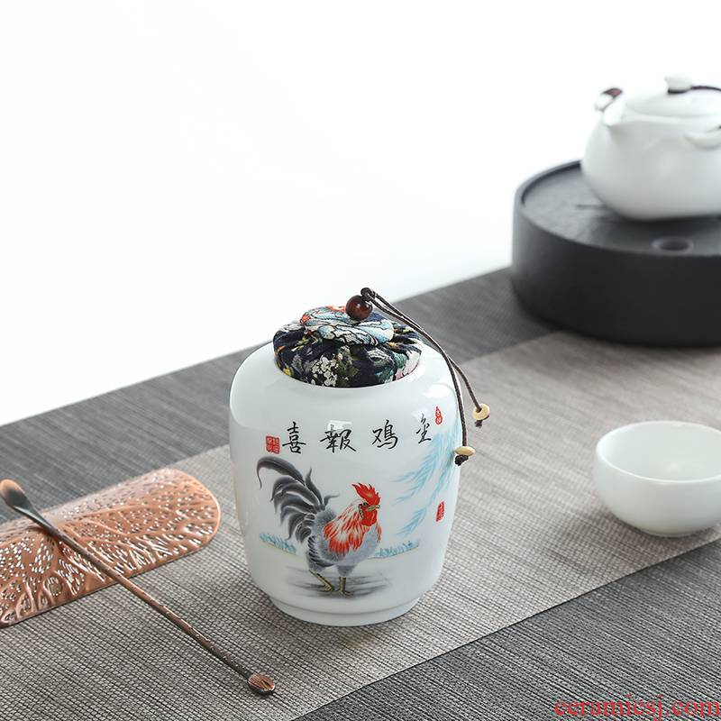 White porcelain tea pot of household ceramic POTS trumpet pu 'er travel tea caddy fixings portable mini storage sealed as cans