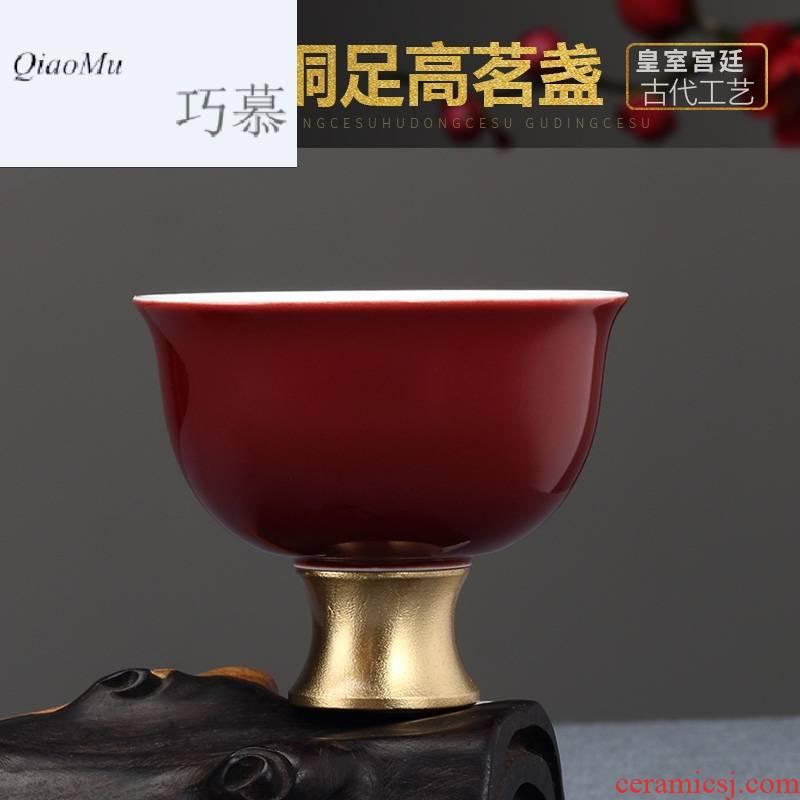 Qiao mu Taiwan FengZiJi red creative kung fu tea sample tea cup single CPU ceramic cups master cup kung fu tea set