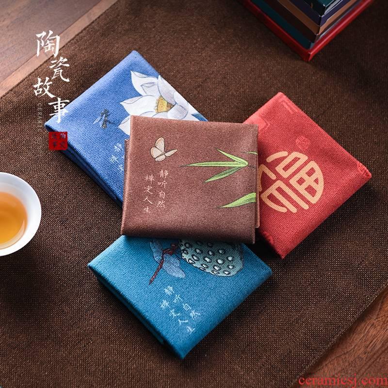 Ceramic story bibulous high - grade tea tea towel cloth mat tea cotton and linen stage desk zen tea pot of towel cloth cloth