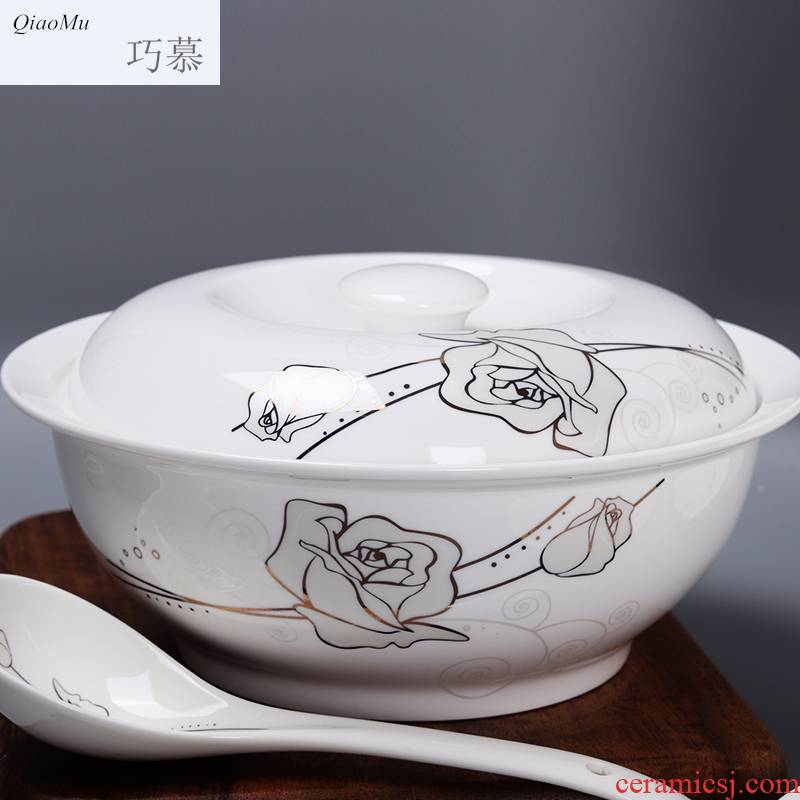 Qiam qiao mu jingdezhen porcelain tableware portfolio ipads dishes rainbow such as bowl bowl dish large household soup bowl spoon dishes