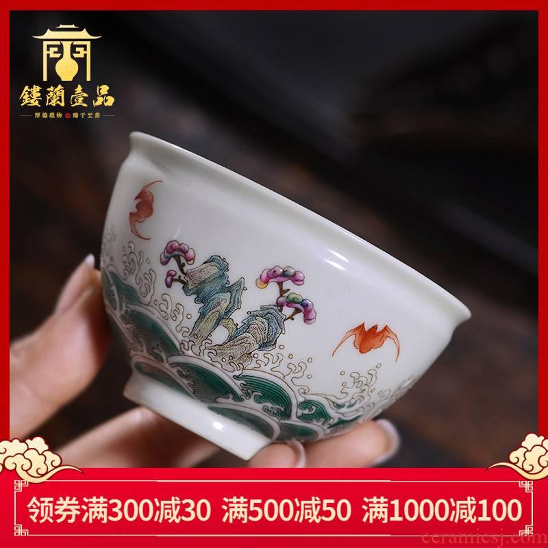 Hand - made pastel fukuyama ShouHai master cup of jingdezhen ceramic bowl sample tea cup cup kung fu tea set