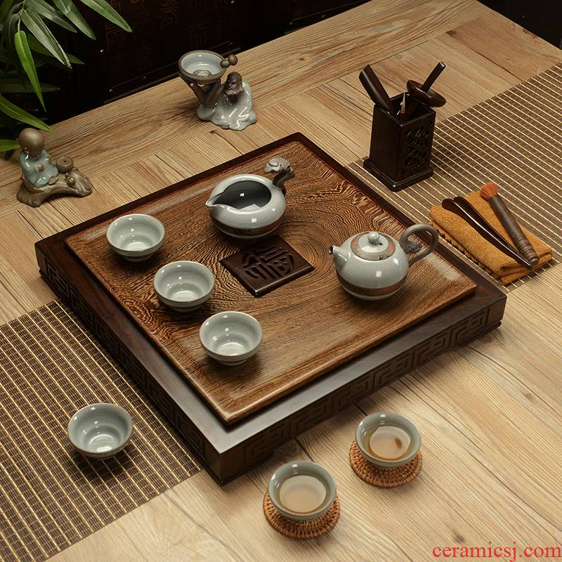 Flooded wenge wood tea set tea tray was elder brother up with household kung fu are it real wood contracted cups of tea of a complete set of the sea