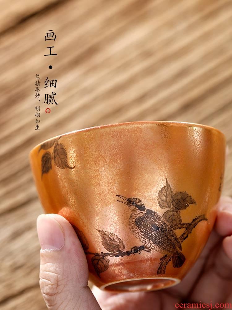 Jingdezhen hand - made firewood master kung fu tea cup single cup of pure manual sample tea cup color glaze ceramic tea set