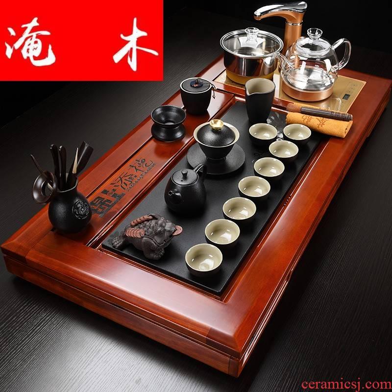 Submerged wood hua limu tea tray was home kung fu tea set four unity of a complete set of automatic electric furnace ceramic tea set