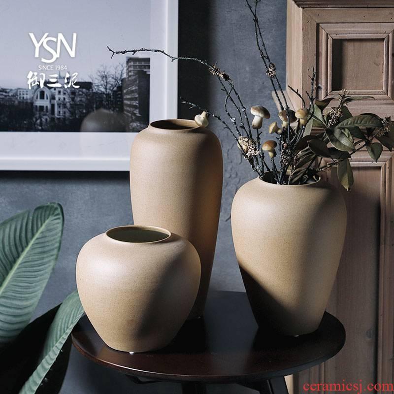 Royal three mud mesa vase decoration ceramic bottle sharjah office furnishing articles hotel teahouse study plain zen