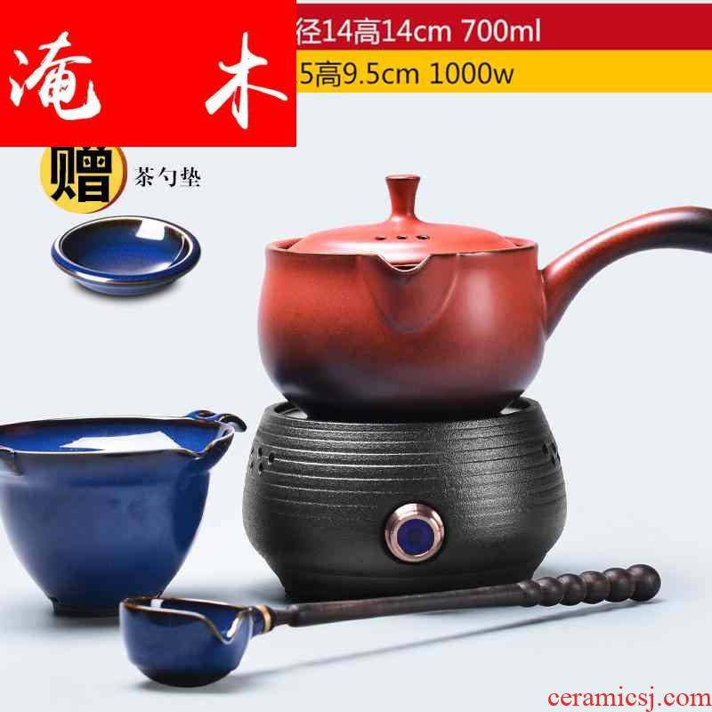 Submerged wood boiled tea machine electric ceramic tea stove domestic outfit automatic ceramic cooking bowl with lid old black tea with tea