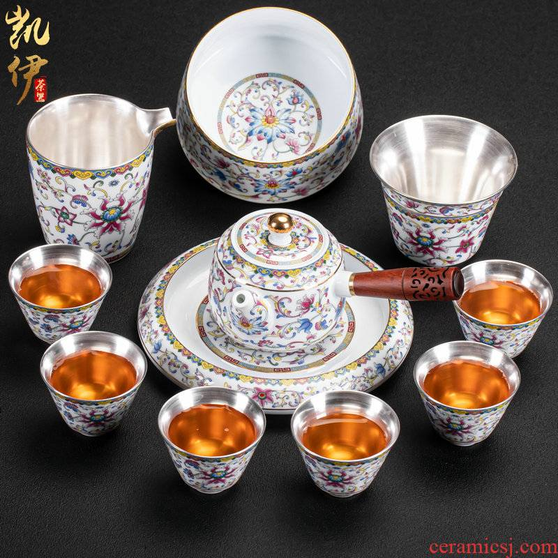 Pure silver colored enamel coppering. As kung fu tea set side teapot tea tea tea cup silver cup ceramic package