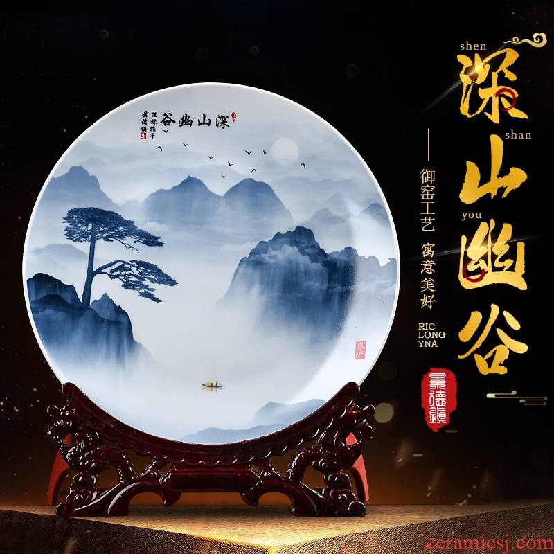 Jingdezhen blue and white landscape hang dish sitting room of the new Chinese style household ceramics decoration plate of TV ark, furnishing articles of handicraft