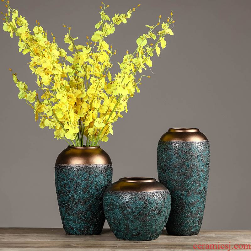 Jingdezhen ceramics coarse pottery dried flower vase furnishing articles of modern Chinese style restoring ancient ways the sitting room TV ark adornment arranging flowers