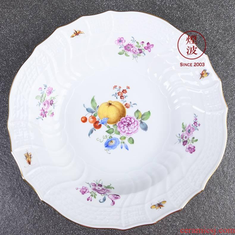 German mason MEISSEN porcelain new clipping paint color fruit flowers series plate deep dish bowl