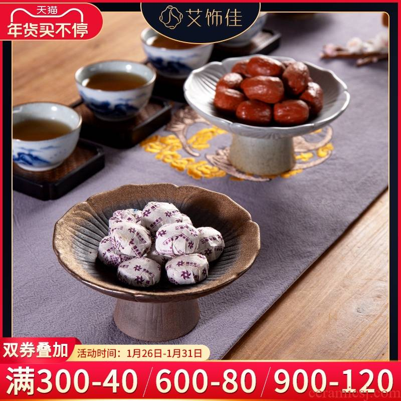Household of Chinese style tea zen Chinese wind snack plate high tea tray ceramic dry fruit bowl sitting room tea table furnishing articles
