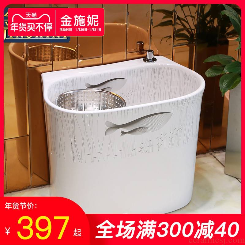 Gold cellnique ceramic wash mop pool large balcony toilet mop pool home land mop mop sink basin of whales