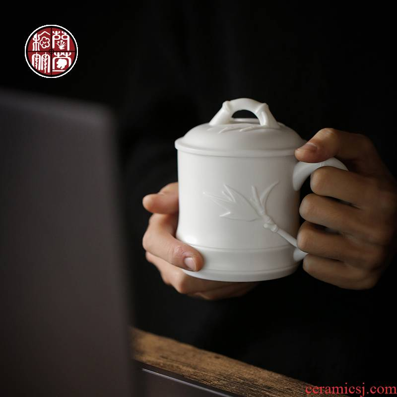 Dehua suet jade white porcelain keller with cover office cup large capacity checking ceramic business cup cup and meeting