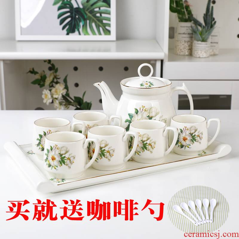 Jingdezhen tea set household Korean cold cold ceramic cups of water kettle with kettle suit heat - resistant coffee cup with pallets