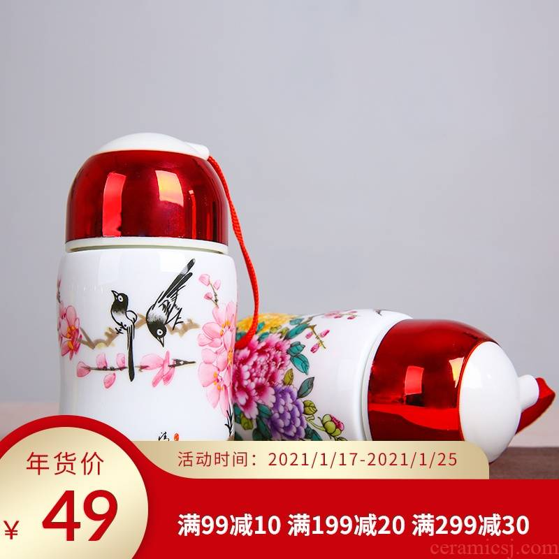 """Jingdezhen ceramic vacuum cup """"women with cover glass cup portable single bladder curing of blue and white porcelain cup gift mugs"""