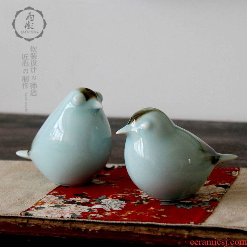 Jingdezhen ceramic furnishing articles bird creative household soft outfit antique between example of new Chinese style porch decoration decoration