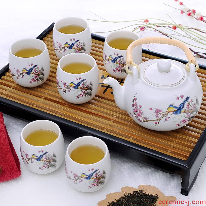 7 heads girder pot of tea set gift boxes of jingdezhen inferior smooth glaze household teapot pay-per-tweet figure
