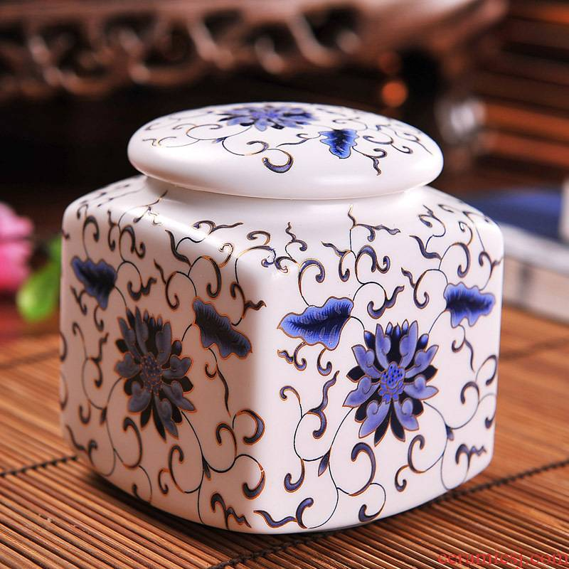 Packages mailed jingdezhen ceramic tea pot seal pot of honey pot inferior smooth square small pack