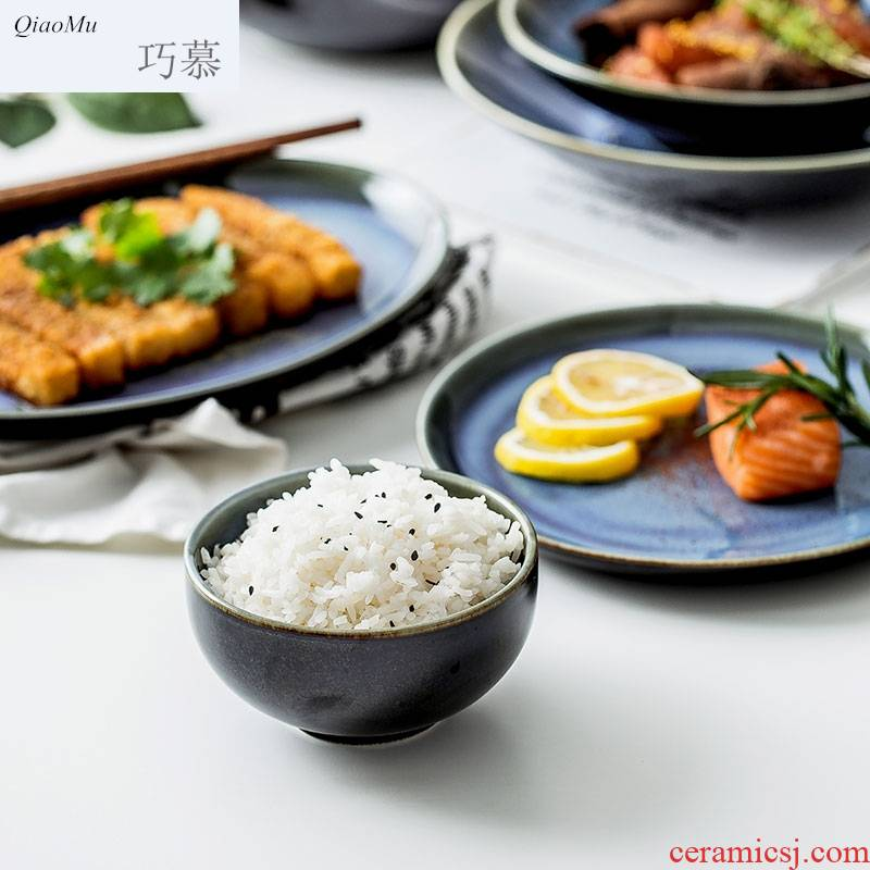 Qiam qiao mu Japanese up creative household tableware ceramic dish dish dish to eat bowl beefsteak dish for breakfast