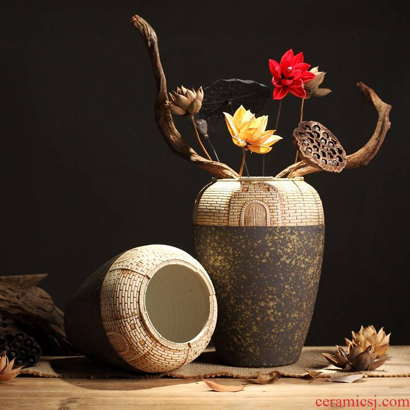 New Chinese style ceramic vase zen furnishing articles hand - carved retro coarse pottery table sitting room adornment flowers of a home stay facility